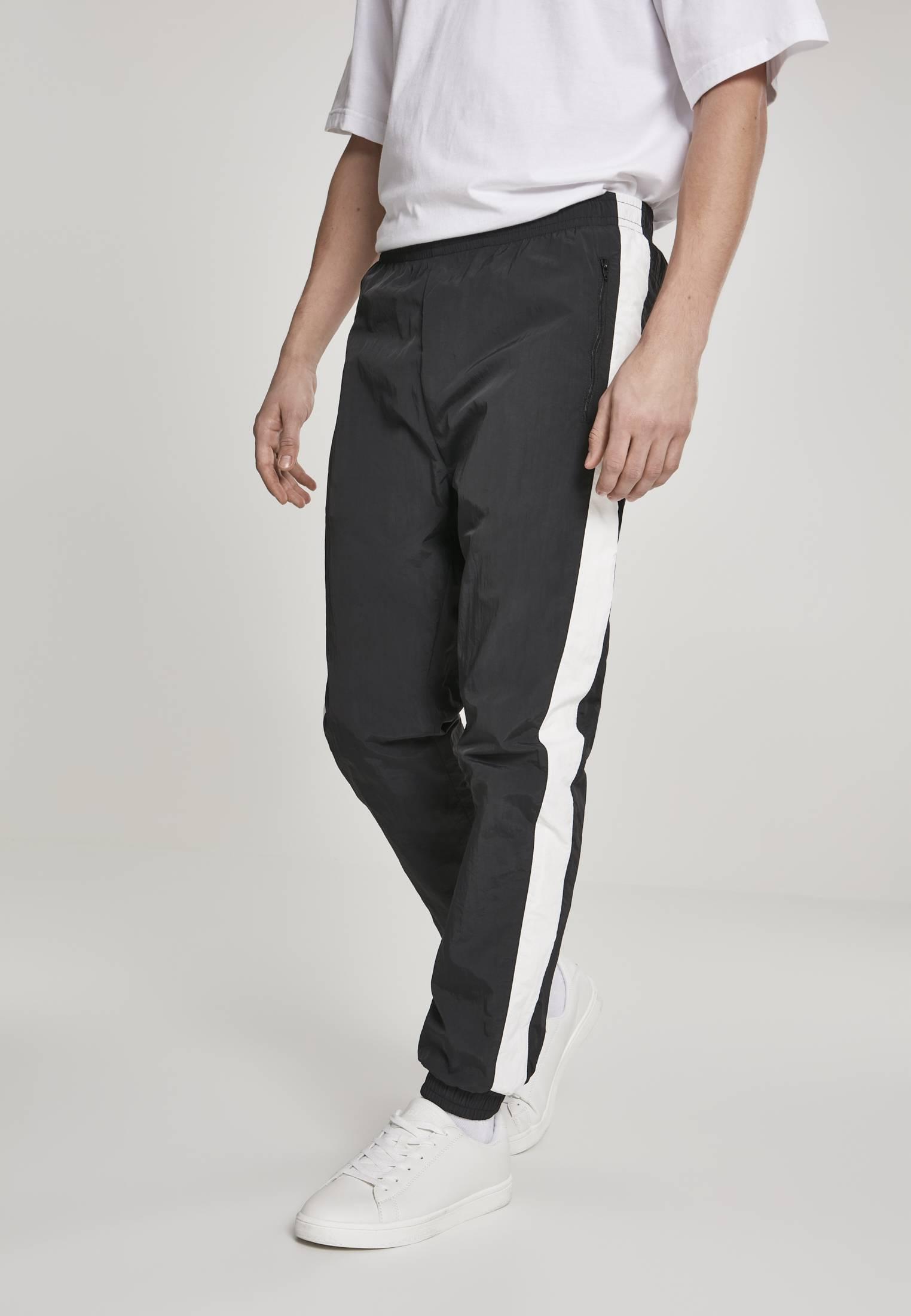 Urban Classics Side Striped Crinkle Track Pants blk/wht - XXL