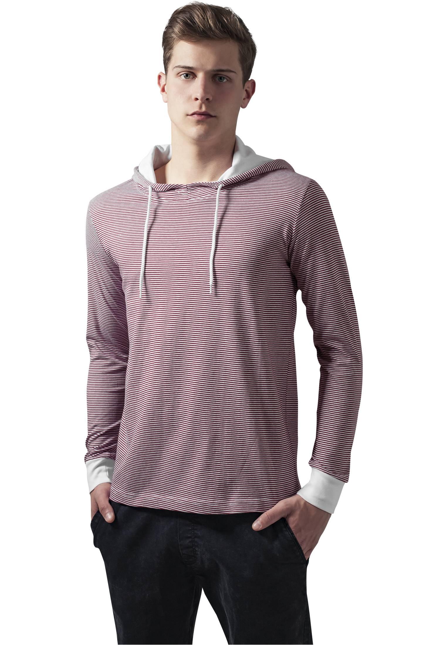 Urban Classics Stripe Jersey Hoody ruby/wht - M