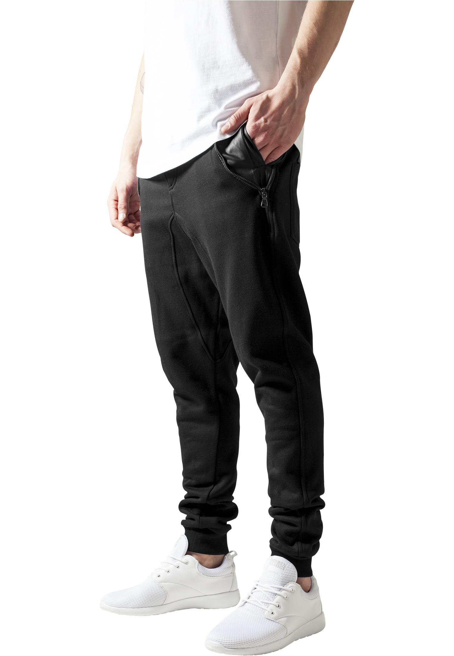 Urban Classics Side Zip Leather Pocket Sweatpant blk/blk - S