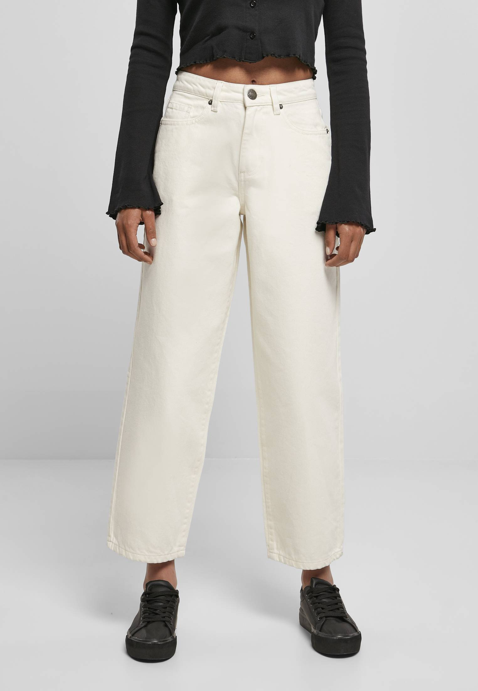 Ladies High Waist Wide Leg Cropped Denim Pants whitesand - 26