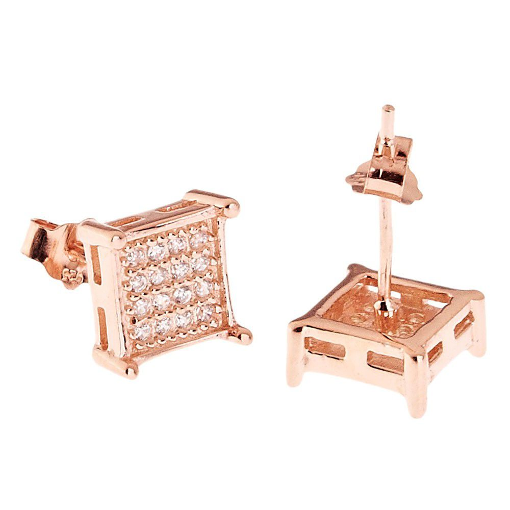 Iced Out 925 Sterling MICRO PAVE Ear Stud - SQUARE 8mm rose gold - Uni / zlatá